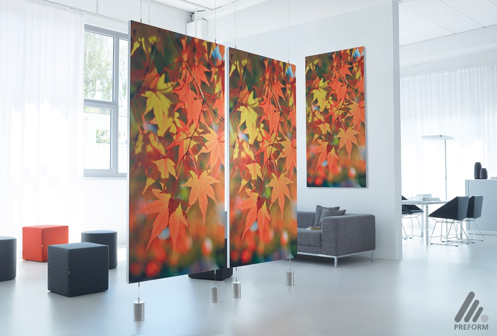 Decato ModulScene: Akustische Raumpaneele, Decken-/Wandabsorber. Design: Nicole Liebrich.