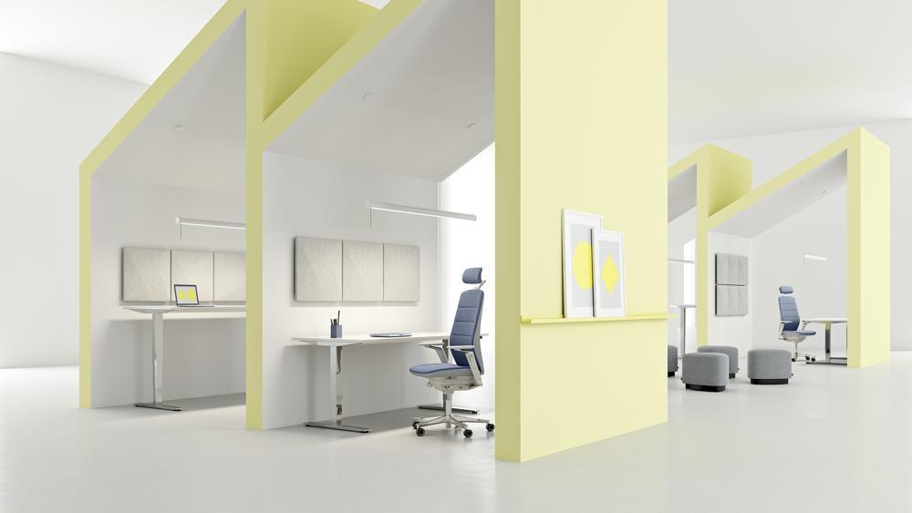 Ergonomie, Kollaboration und konzentrierte Einzelarbeit. Kinnarps bietet umfassende Lösungen für Büroarbeitsplätze. Abbildung: Kinnarps