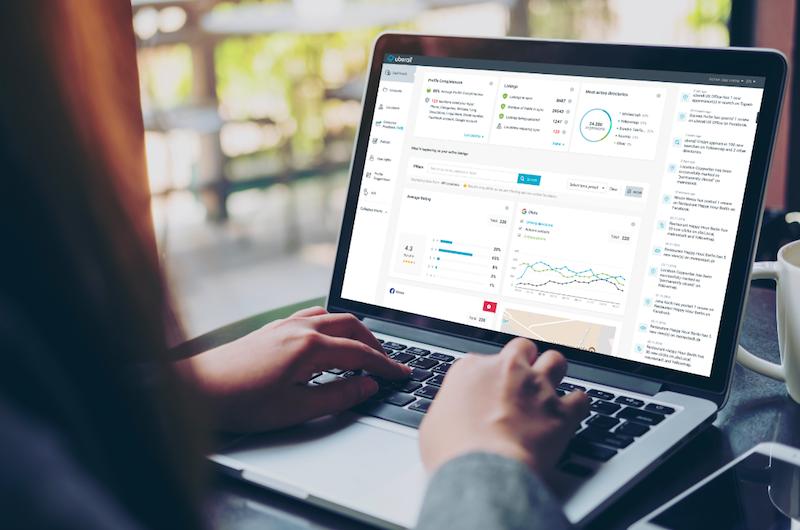 Das Uberall Dashboard für Nutzer. Uberall arbeitet heute bereits mit weltweit rund 1.500 Kunden und über 700.000 betreuten Standorten zusammen
