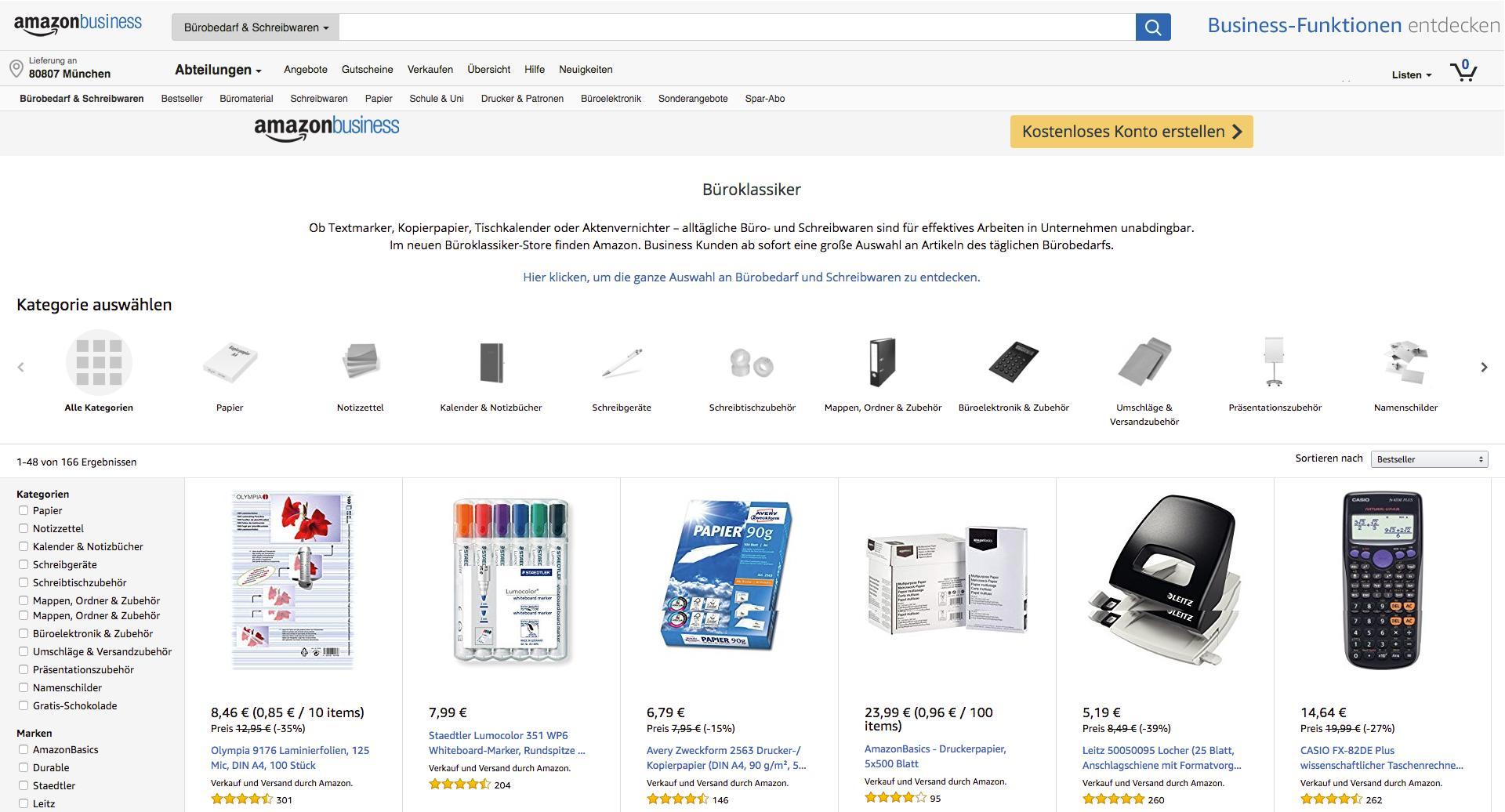 Auf der übersichtlichen Website können Kunden einfach und schnell Büroklassiker kaufen. Abbildung: Amazon