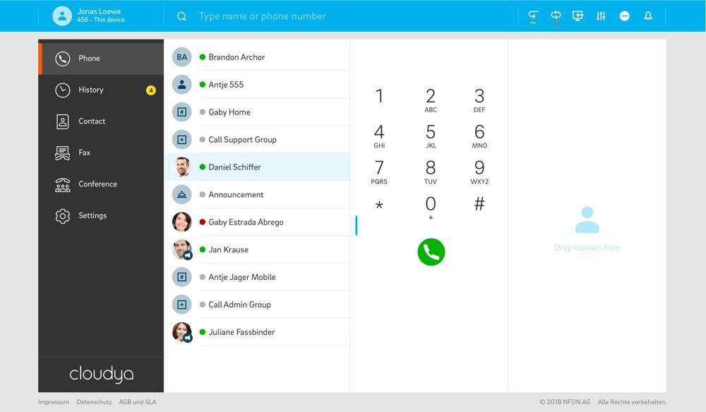 Cloudya bietet eine einheitliche Oberfläche für Telefon, PC, Smartphone und Fax. Abbildung: Nfon