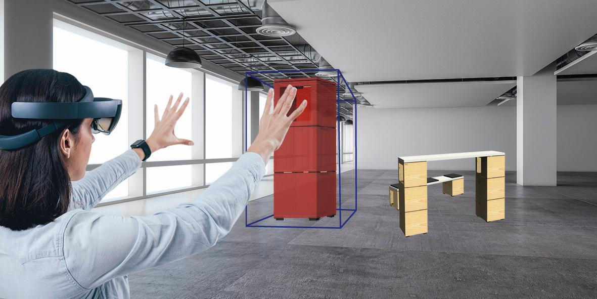 Büromöbel als Hologramme: Die App Outline MR. Abbildung: BKE Fislage
