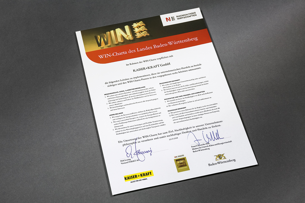 Kaiser+Kraft: WIN-Charta für Nachhaltigkeit