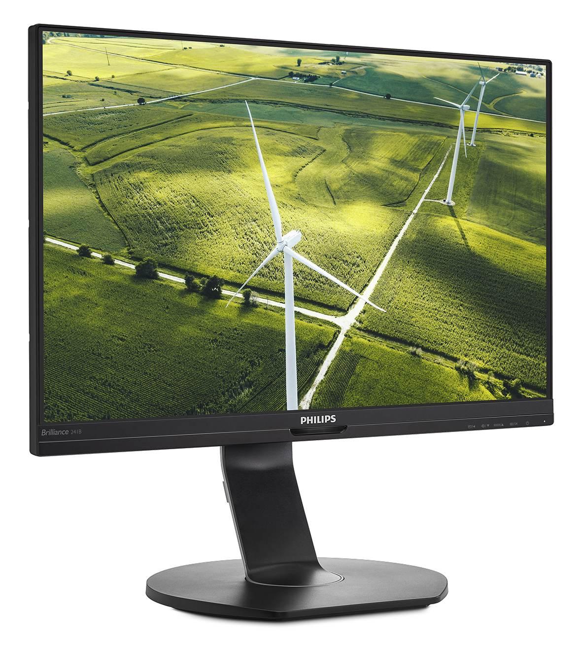 241B7QGJEB – dieses 61 cm (23,8 Zoll) große Full-HD-LCD-Modell bietet eine Vielzahl an Technologien wie Low-Power-Backlit zur Einstellung der Helligkeit und Reduktion des Verbrauchs, einen Powersensor, der die An- oder Abwesenheit des Anwenders über Infrarotsignale erkennt und die Helligkeit des Monitors entsprechend reduziert, sowie die Lightsensor-Technologie, die das Umgebungslicht erfasst und die Bildschirmhelligkeit automatisch anpasst. Abbildung: Philips