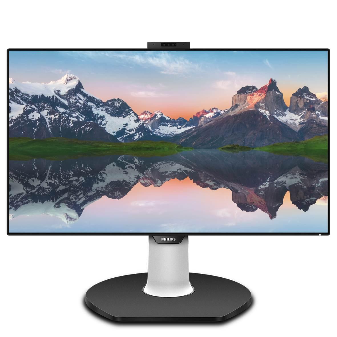 329P9H – dieser effizienzsteigernde 80 cm (31,5 Zoll) große Monitor (16:9) bietet einen 4-seitig rahmenlosen Flachbildschirm mit Ultraclear-Bildern in 4K-UHD-Auflösung (3.840 x 2.160 Pixel). Ausgestattet mit einem KVM-Switch bietet dieser Monitor dem Benutzer auch die Leistung und Konnektivität des USB-C-Docking, den Komfort und die Sicherheit der Windows Hello-Popup-Webcam und die energiesparende Effizienz des Powersensors. Abbildung: Philips