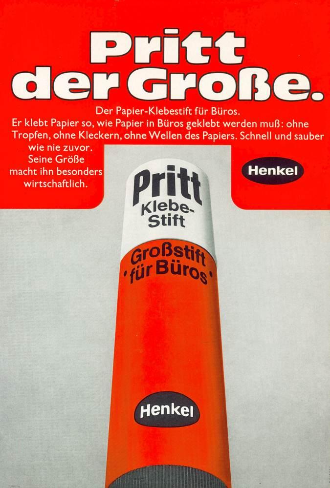 Werbung für Pritt von 1971. Abbildung: Henkel Adhesive Technologies
