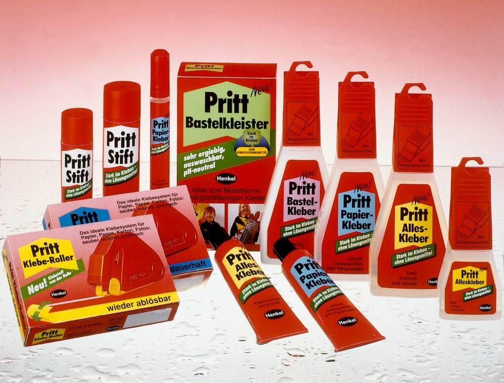 Pritt ProduktRange von 1989. Abbildung: Henkel Adhesive Technologies