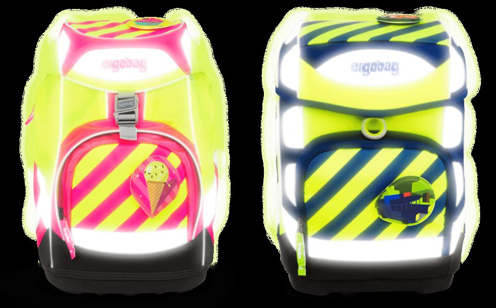 Am Ergobag NEO sorgen fluoreszierende und reflektierende Elemente für gute Sichtbarkeit bei schlechten Lichtverhältnissen. Abbildung: Ergobag