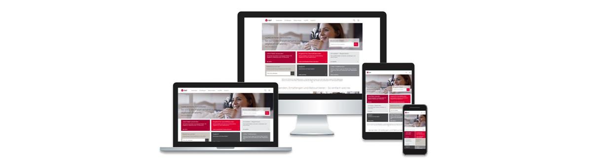 Das responsive Design der neuen DPD-Webseite sorgt für übersichtliche Darstellung auf allen Geräten. Abbildung: DPD