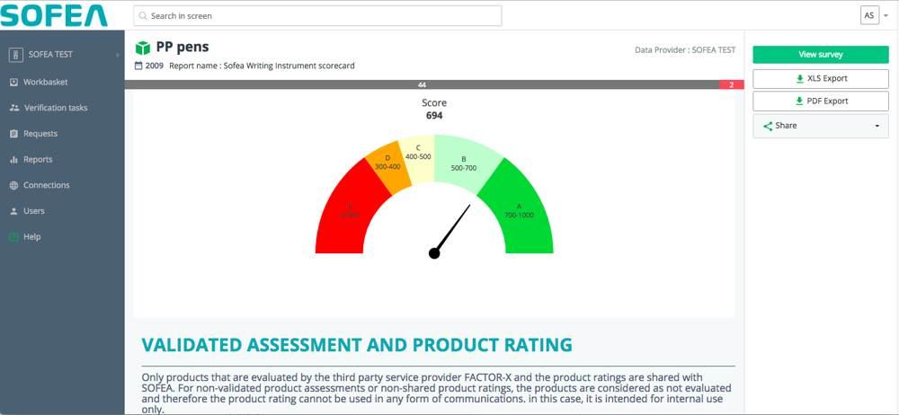 Eine Grafik gibt detaillierte Einblicke in die ökologische und soziale Bilanz des Produkts. Abbildung: SOFEA