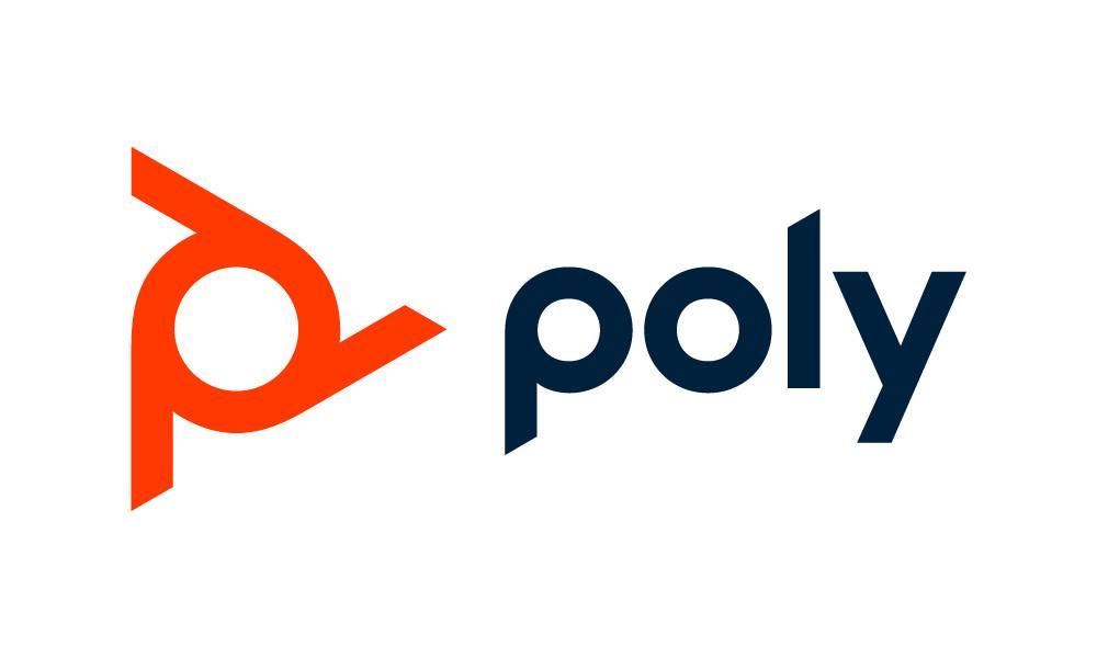 Die lavarote Farbe und der Schriftzug bilden einen Propeller. Die drei Beine sind vom Design des berühmten Konferenztelefons von Polycom inspiriert. Abbildung: Poly