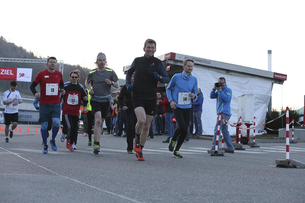 Interstuhl-Geschäftsführer Helmut Link beim 50-km-Lauf zu seinem 50. Geburtstag. Abbildung: Interstuhl