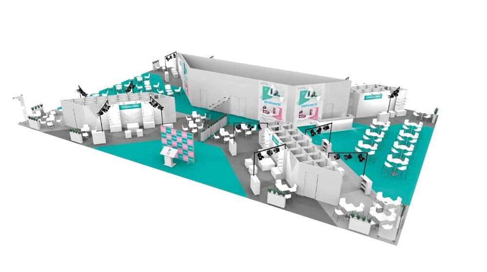 """So wird die Sonderfläche in Halle 3.0 """"Paperworld Office Village"""" aussehen. Abbildung: Messe Frankfurt GmbH"""