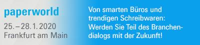 paperworld 25.-28.1.2020 Frankfurt am Main. Von smarten Büros und trendigen Schreibwaren: Werden Sie Teil des Branchendialogs mit der Zukunft!