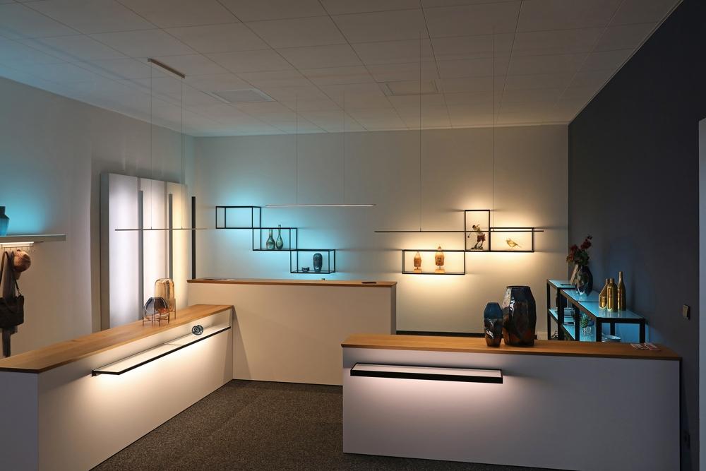 Produktausstellung im neuen Lichtforum. Abbildung: Gera Leuchten