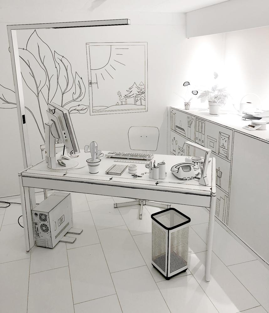 Ein ganzes Office in Schwarz und Weiß. Abbildung: Maul