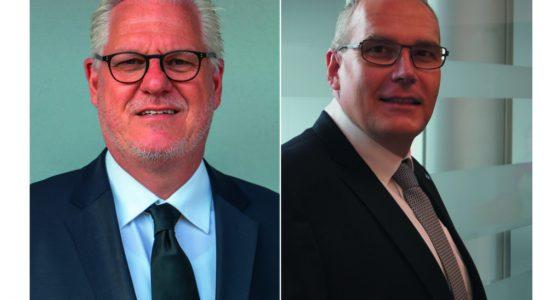 Axel Hennemann (l.) ist neuer Vorstand Vertrieb und Marketing, Sascha Saal übernimmt die neugeschaffene Position des Leiters Mitgliederbetreuung. Abbildung: Büroring