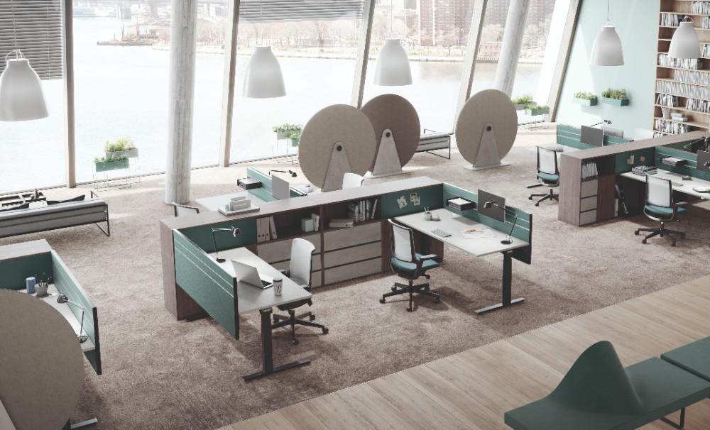 Büroeinrichtung für moderne Bürolandschaften. Abbildung: Palmberg