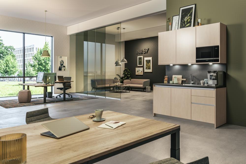 Mit der Picnic-Büroküche bietet Assmann für Aufenthalts- und Pausenbereiche verschiedene Einrichtungsvarianten. Abbildung: Assmann