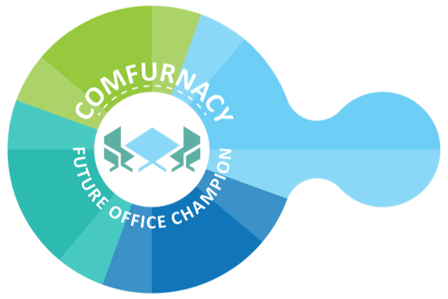 "Das Comfurnacy-Siegel des leap in time Lab der Technischen Universität Darmstadt identifiziert die ""Future Office Champions"". Abbildung: Dauphin HumanDesign Group"