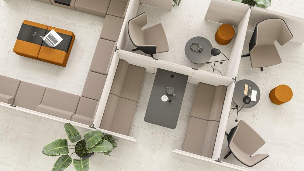 Mit der Akustiklösung My Space können offene Büroflächen leicht neu gegliedert werden. Abbildung: Narbutas