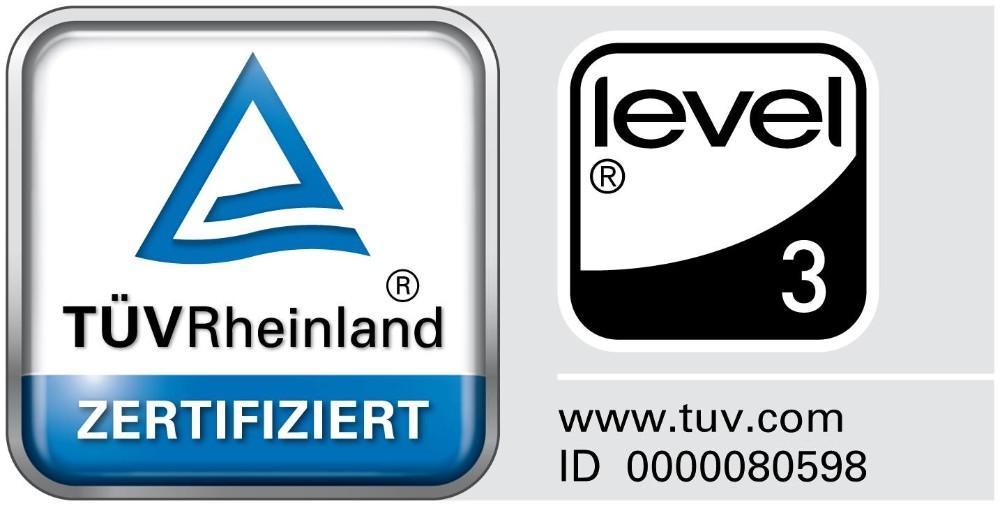 Die Zertifikate des TÜV Rheinland und LEVEL 3. Abbildung: Wini