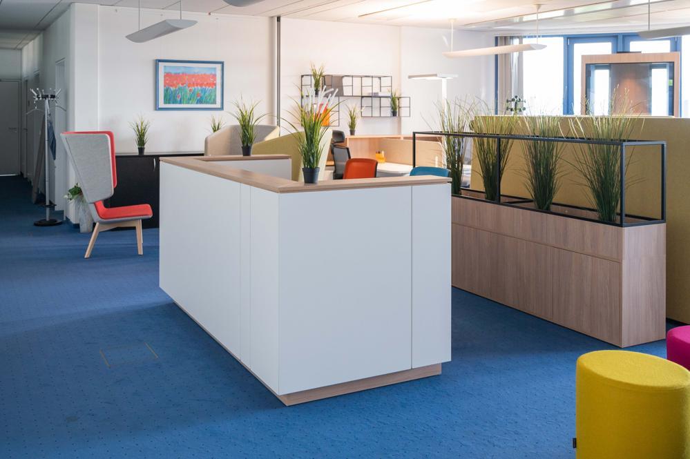 Empfangsbereiche und Elemente zum Zonieren von Arbeitsflächen. Abbildung: Narbutas